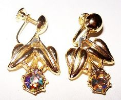 """Up for your consideration is this pair of  Aurora Borealis #Earrings Dangle Style Rhinestones Gold Metal Screw On Backings 1 1/4"""" #Vintage presented by Brightgems Treasures. ... #jewelry #vintage #teamlove #etsy #earrings"""