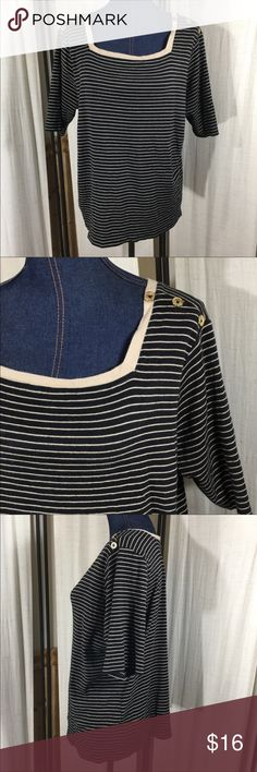 "🌊 Sea worthy nautical tee  - Jones New York Jones New York Signature striped knit shirt.  Black with tan stripes. Accented with gold buttons on the shoulders.  Very modern nautical chic! Square cut neckline.  Size 2X.  Pre-worn condition.  Material: 100% cotton.  Measurements (flat): sleeve: 11""; armpit to armpit: 21.5""; waist: 20""; length: 21.5""; bottom hem: 22.5"". Jones New York Tops Tees - Short Sleeve"