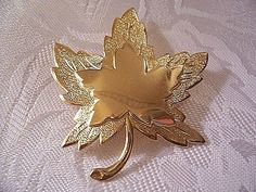 Monet Leaf Pin Brooch Gold Tone Vintage Layered Brushed Smooth | PrettyJewelryThingsStore - Jewelry on ArtFire