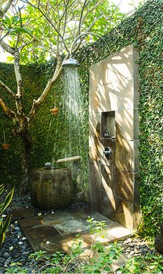 Villa Belong Dua, Bali, Indonesia.   Beyond Villas Bali has a selection of beautiful villas, all over Bali, to suit every style & Budget. www.beyondvillas.com #outdoorshower