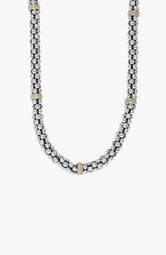 Women's LAGOS Mini Caviar Rope Necklace - Silver/ Gold