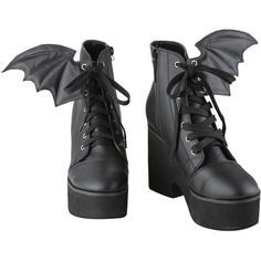 Ironfist Iron Fist Bat Wing Boots (€50) ❤ liked on Polyvore featuring shoes, boots, heels, front lace up boots, laced up shoes, heeled boots, lace up heeled boots and iron fist boots