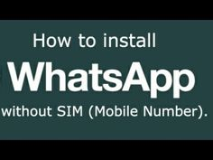Here's my latest video! Register WhatsApp without a SIM--  telephone number https://youtube.com/watch?v=_Q2rk80NGnQ