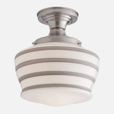 grey stripe schoolhouse pendant #lighting