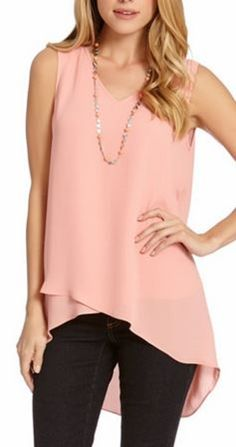 Layered Peach V Neck Tank Top $79.00