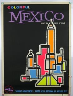 Colorful Mexico tourism poster (1960s)