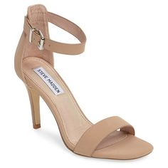 bayyside square toe sandal by Steve Madden. An open d'Orsay toe and a simple ankle strap detail a barely there sandal lifted by a slender wrapped stiletto heel.