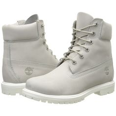 Timberland 6 Premium Boot (Light Grey Nubuck) Women's Lace-up Boots ($136) ❤ liked on Polyvore featuring shoes, boots, ankle boots, grey, lace up ankle boots, bootie boots, gray boots and gray ankle boots