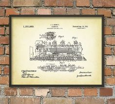 Steam Engine Locomotive Patent Wall Art Poster by QuantumPrints