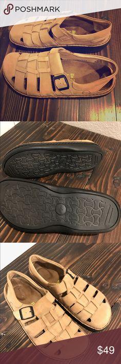 Footprints by Birkenstock Sandals Footprints by Birkenstock Merced woven leather sandals. 100% Birkenstock natural cork footbed. Super comfy and gently worn. Size 9 Birkenstock Shoes Sandals