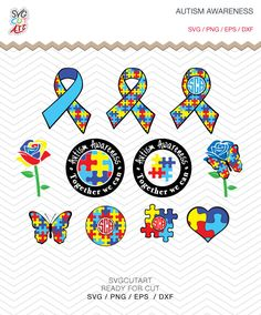 Autism Awareness Monograms SVG DXF EPS png Hope cut Cricut Design, Silhouette studio, Sure Cuts Lot, Make the cut instant Download by SvgCutArt on Etsy
