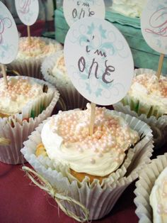 Cupcake toppers by My Lady Dye - Vintage Chic Birthday Party via Karas Party Ideas | KarasPartyIdeas.com #vintage #chic #girl #1st #first #birthday #party #ideas (20)
