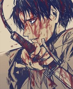 Captain Levi - Attack on Titan ... Amazing art, but I don't think he'd ever let himself get this filthy :P