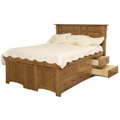 daniels amish arts and crafts full solid wood pedestal bed with 12 drawers - Pedestal Bed Frame