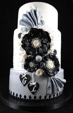 Stirling, Black and White Engagement Cake by Little Acre Cake Maker  (3/16/2012)  View Cake Details Here: http://cakesdecor.com/cakes/9318