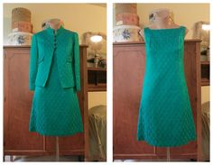 Vintage 1960s Jade and Turquoise Satin Brocade Shift and Tailored Jacket with Rhinestone Buttons - 32 bust by dandelionvintage