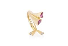 18 Ct gold ring set with ruby's and diamonds Gallie Modern Jewelry, Precious Metals, Gold Rings, Diamonds, 18th, Jewels, Jewerly, Diamond, Gemstones