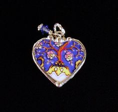 "Heart charm 1"" made from a broken antique porcelain plate. by Dishfunctional Designs"