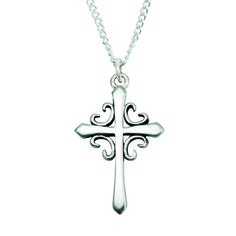 Sterling Silver French Cross Necklace on SonGear.com - Christian Shirts, Jewelry