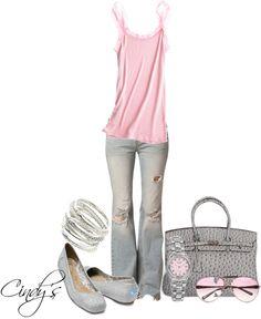 """Pink & Grey"" by cindycook10 on Polyvore"