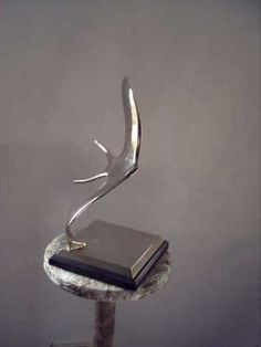 Bronze Garden Or Yard / Outside and Outdoor sculpture by artist Guy Portelli titled: 'Swallows 1 (Swirling Nickel bronze small sculptures statue statuettes)'
