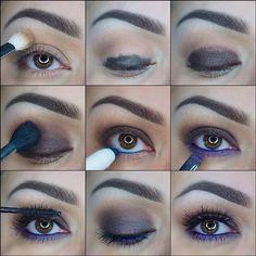 Blue and Brown Eyeshadow Tutorial Brown Eyeshadow Tutorial, Eye Tutorial, Blue Makeup, Makeup For Brown Eyes, Hair Makeup, Eye Makeup Pictures, Makeup Pics, Makeup Ideas, Evening Eye Makeup