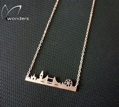 N00210 Fashion Gold Chain Statement Necklaces & Pendants Collares Stainless Steel Skyline City London Necklace Boho Jewelry