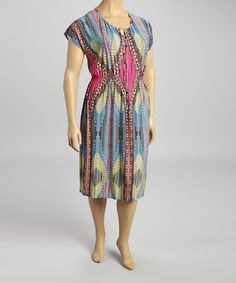 Look what I found on #zulily! Fuchsia & Teal Tribal Cap-Sleeve Dress - Plus by Glamour #zulilyfinds