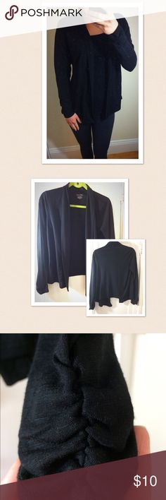 Calvin Klein small black cardigan Super cute throw in black cardigan. The sleeves have a nice ruffle design as shown in photo. Size small Calvin Klein Sweaters Cardigans