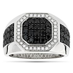 White and Black Diamond Ring for Men Pinky Ring weights approximately 12 grams and features carats of dazzling white diamonds and charcoal black diamonds. This classy mens diamond ring is available in white, yellow and rose g Mens Pinky Ring, Pinky Rings, Diamond Wedding Rings, Diamond Rings, Gold Rings, Mens Diamond Jewelry, Men's Jewelry Rings, Black Jewelry, Jewellery