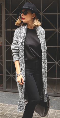 Chunky Knit Hooded Long Cardigan