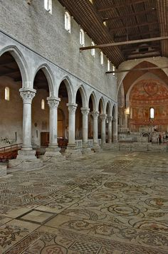 Basilica of Aquileia, Italy (4th century CE). On the floor, the well preserved mosaic (4th/5th century)