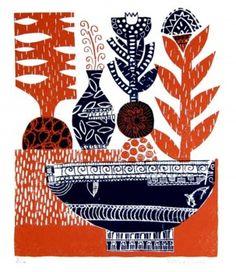 """Exotic Flowers"" by Rachel Sim (two colour silkscreen print)"