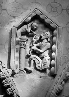 Monkey Charmer - Carving at Bayeux Cathedral