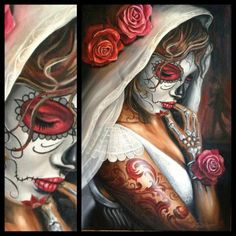 Day of the Dead (Spanish: Día de Muertos) is a Mexican holiday celebrated throughout Mexico and around the world in other cultures. Day Of Dead, Day Of The Dead Girl, Day Of The Dead Skull, Sugar Skull Mädchen, Sugar Skull Makeup, Sugar Skull Tattoos, Katrina Mexicana, Los Muertos Tattoo, Insane Tattoos