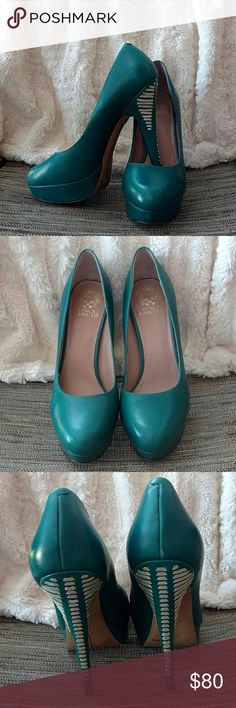 Vince Camuto  Size 9.5 Heels Beautiful size 9.5 Vince Camuto teal and silver leather heels worn only a couple of times they are in great pre loved condition! Love the detail on the heels, got many compliments❤️❤️ Vince Camuto Shoes