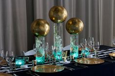 Gold Soccer Ball Centerpiece with LED Lighting, Orchids & LED Tea Lights