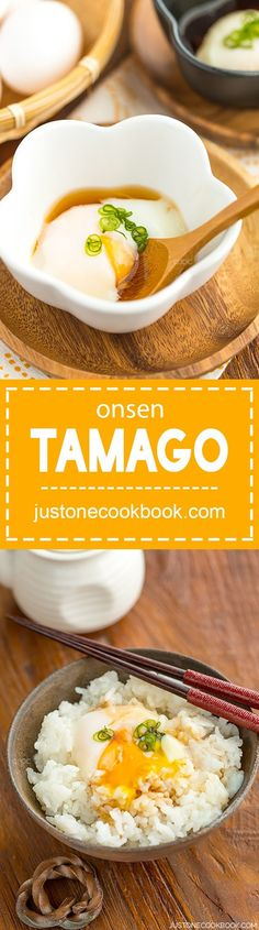 Originally prepared in hot spring water in Japan, this onsen tamago recipe with soft silk egg whites and custard like yolk is easy to make at home. Easy Japanese Recipes, Japanese Dishes, Japanese Food, Egg Recipes, Asian Recipes, Cooking Recipes, Healthy Recipes, Game Recipes, Vietnamese Recipes