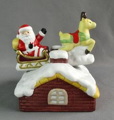 Bisque Porcelain Animated Here Comes Santa Claus Reindeer Rooftop Music Box #Music Box #Santa Claus # Christmas