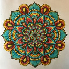 "Mandala from Adult Coloring Books, ""Mandala"" (2015). Colored by B. Holmes using Shin Han acid-based markers, 3-2017."