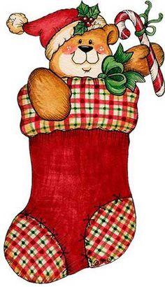 CHRISTMAS TEDDY BEAR STOCKING CLIP ART