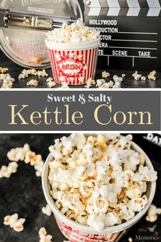 Old Fashioned Homemade Kettle Corn Love Old Fashioned Kettle Corn? Learn How to make the best easy homemade kettle corn recipe you can make right in your own kitchen on the stovetop using Coconut Oil! The perfect blend of sweet & salty popcorn just like f Popcorn Recipes, Snack Recipes, Popcorn Snacks, Cooking Recipes, Cooking 101, Delicious Recipes, Cooking Light, Easy Recipes, Dessert Recipes