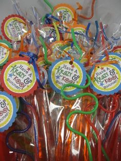end of school year gifts  Krazy straws and icy pops  set of 10 made for under 10 dollars