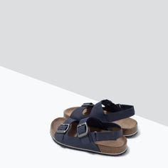 ZARA - DZIECI - SKÓRZANE SANDAŁY BIO ZE SPRZĄCZKAMI Zara, Birkenstock Milano, Boy Fashion, Shoes Sandals, Kids, Babies, Trends, Spring, Black Loafers