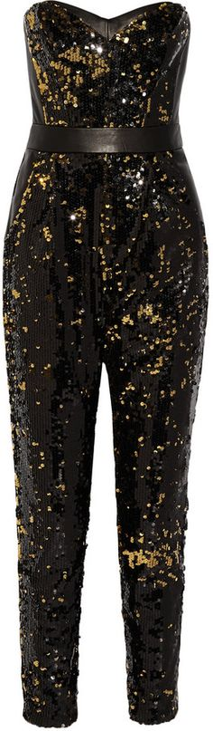 Milly Leather-trimmed sequined tulle jumpsuit    ≼❃≽ @kimludcom