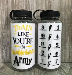 """Listing is for """"Train Like You're In Dumbledore's Army"""" water bottle as pictured. **ONLY 1 LEFT! Will ship out next day!** The decals are cut from high quality vinyl to insure durability for everyday use. HAND WASH ONLY! Custom Water Bottles, Personalized Water Bottles, Water Bottle Workout, Craft Videos, Travel Mug, Mugs, Tableware, Cricut Ideas, Decals"""