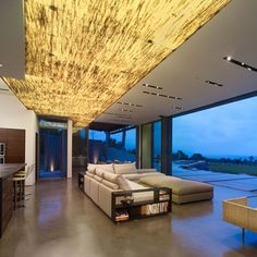 Stunning translucent ceiling  with sustainable 3form material
