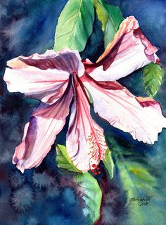 Pink Hibiscus Painting Original Watercolor Painting by kauaiartist