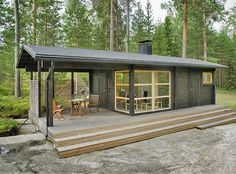 - Not a container house, but prefab. Sunhouse Modern Prefab Homes. Designer: Kalle Oikkari, architect Living area: Floor area: Dimensions: m x m Modern Tiny House, Tiny House Living, Tiny House Design, Cheap Tiny House, Design Homes, Cheap Houses To Build, Small Modern Cabin, Modern Small House Design, Cabin Design