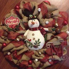 Burlap Christmas Wreath with snowman on Etsy, $75.00